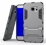 Eiroo Iron Armor Samsung Galaxy S7 Edge Standlı Ultra Koruma Dark Silver Kılıf