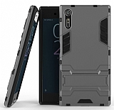 Eiroo Iron Armor Sony Xperia XZ Standlı Ultra Koruma Dark Silver Kılıf