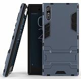 Eiroo Iron Armor Sony Xperia XZ Standlı Ultra Koruma Lacivert Kılıf