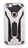 Eiroo Iron Care iPhone 6 / 6S Standlı Ultra Koruma Silver Kılıf