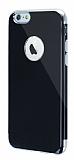 Eiroo Jet Fit iPhone 6 / 6S Silver Kenarlı Jet Black Silikon Kılıf