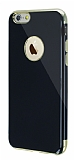Eiroo Jet Fit iPhone 6 / 6S Gold Kenarlı Jet Black Silikon Kılıf