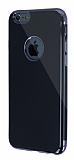 Eiroo Jet Fit iPhone 6 / 6S Dark Silver Kenarlı Jet Black Silikon Kılıf