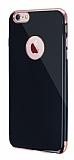 Eiroo Jet Fit iPhone 6 Plus / 6S Plus Rose Gold Kenarlı Jet Black Silikon Kılıf