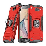 Eiroo Kickstand Samsung Galaxy J7 Prime Ultra Koruma Kırmızı Kılıf