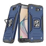 Eiroo Kickstand Samsung Galaxy J7 Prime Ultra Koruma Mavi Kılıf