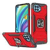 Eiroo Kickstand Oppo Reno4 Lite Ultra Koruma Kırmızı Kılıf
