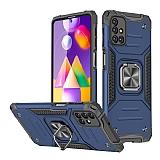 Eiroo Kickstand Samsung Galaxy M31s Ultra Koruma Mavi Kılıf