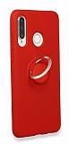 Eiroo Lansman Huawei P30 Lite Selfie Yüzüklü Kırmızı Silikon Kılıf