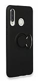 Eiroo Lansman Huawei P30 Lite Selfie Yüzüklü Siyah Silikon Kılıf