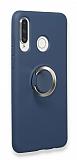 Eiroo Lansman Huawei P30 Lite Selfie Yüzüklü Lacivert Silikon Kılıf