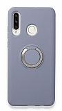 Eiroo Lansman Huawei P30 Lite Selfie Yüzüklü Mavi Silikon Kılıf