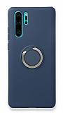 Eiroo Lansman Huawei P30 Pro Selfie Yüzüklü Lacivert Silikon Kılıf