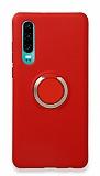 Eiroo Lansman Huawei P30 Selfie Yüzüklü Kırmızı Silikon Kılıf