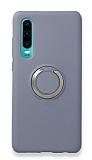 Eiroo Lansman Huawei P30 Selfie Yüzüklü Mavi Silikon Kılıf