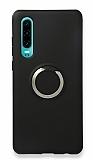 Eiroo Lansman Huawei P30 Selfie Yüzüklü Siyah Silikon Kılıf