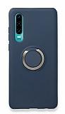 Eiroo Lansman Huawei P30 Selfie Yüzüklü Lacivert Silikon Kılıf