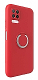 Eiroo Lansman Huawei P40 Lite Selfie Yüzüklü Kırmızı Silikon Kılıf