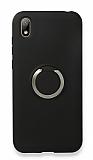 Eiroo Lansman Huawei Y5 2019 Selfie Yüzüklü Siyah Silikon Kılıf