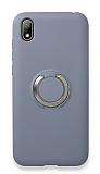 Eiroo Lansman Huawei Y5 2019 Selfie Yüzüklü Mavi Silikon Kılıf