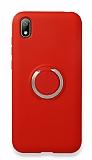 Eiroo Lansman Huawei Y5 2019 Selfie Yüzüklü Kırmızı Silikon Kılıf