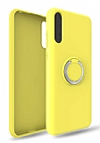 Eiroo Lansman Huawei Y8P Selfie Yüzüklü Sarı Silikon Kılıf