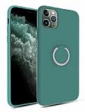 Eiroo Lansman iPhone 11 Pro Selfie Yüzüklü Yeşil Silikon Kılıf