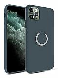 Eiroo Lansman iPhone 11 Pro Selfie Yüzüklü Lacivert Silikon Kılıf