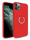 Eiroo Lansman iPhone 11 Pro Selfie Yüzüklü Kırmızı Silikon Kılıf