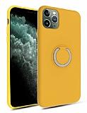Eiroo Lansman iPhone 11 Pro Selfie Yüzüklü Sarı Silikon Kılıf