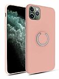 Eiroo Lansman iPhone 11 Pro Selfie Yüzüklü Pembe Silikon Kılıf