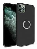 Eiroo Lansman iPhone 11 Pro Selfie Yüzüklü Siyah Silikon Kılıf