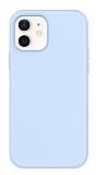 Eiroo Lansman iPhone 12 / iPhone 12 Pro 6.1 inç Açık Mavi Silikon Kılıf