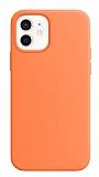 Eiroo Lansman iPhone 12 / iPhone 12 Pro 6.1 inç Turuncu Silikon Kılıf
