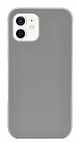 Eiroo Lansman iPhone 12 / iPhone 12 Pro 6.1 inç Açık Gri Silikon Kılıf