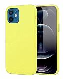 Eiroo Lansman iPhone 12 Mini 5.4 inç Sarı Silikon Kılıf