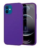 Eiroo Lansman iPhone 12 Mini 5.4 inç Mor Silikon Kılıf