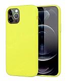 Eiroo Lansman iPhone 12 Pro Max 6.7 inç Sarı Silikon Kılıf