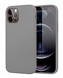 Eiroo Lansman iPhone 12 Pro Max 6.7 inç Gri Silikon Kılıf