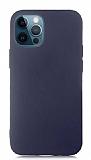Eiroo Lansman iPhone 12 Pro Max 6.7 inç Lacivert Silikon Kılıf