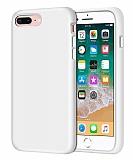 Eiroo Lansman iPhone 7 Plus / 8 Plus Beyaz Silikon Kılıf