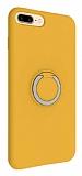 Eiroo Lansman iPhone 7 Plus / 8 Plus Selfie Yüzüklü Sarı Silikon Kılıf