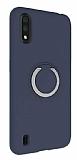 Eiroo Lansman Samsung Galaxy A01 Selfie Yüzüklü Lacivert Silikon Kılıf