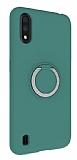 Eiroo Lansman Samsung Galaxy A01 Selfie Yüzüklü Yeşil Silikon Kılıf