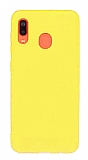 Eiroo Lansman Samsung Galaxy A20 / A30 Sarı Silikon Kılıf