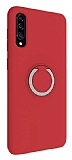 Eiroo Lansman Samsung Galaxy A50 Selfie Yüzüklü Kırmızı Silikon Kılıf