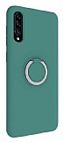 Eiroo Lansman Samsung Galaxy A50 Selfie Yüzüklü Yeşil Silikon Kılıf