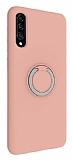 Eiroo Lansman Samsung Galaxy A50 Selfie Yüzüklü Pembe Silikon Kılıf