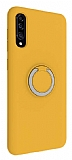 Eiroo Lansman Samsung Galaxy A50 Selfie Yüzüklü Sarı Silikon Kılıf