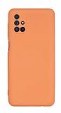 Eiroo Lansman Samsung Galaxy M51 Kamera Korumalı Turuncu Silikon Kılıf